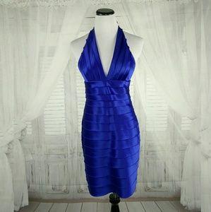 BCBGMaxAzria Satin Halter Dress